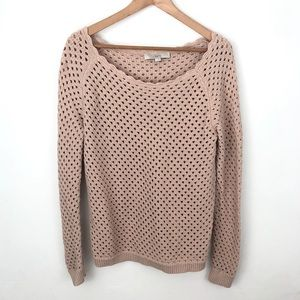LOFT Pink Perforated Sweater